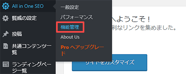 「All in One SEO」の「機能管理」