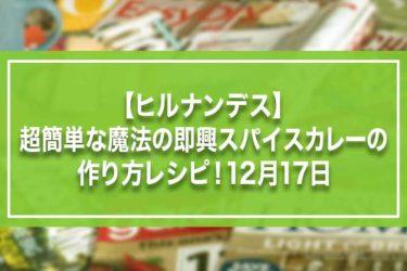 【ヒルナンデス】超簡単な魔法の即興スパイスカレーの作り方レシピ!12月17日