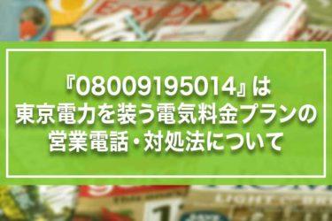 『08009195014』は東京電力を装う電気料金プランの営業電話・対処法について